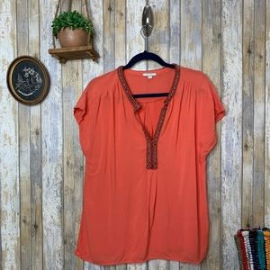 Pleione Coral V Neck Embroidered Blouse